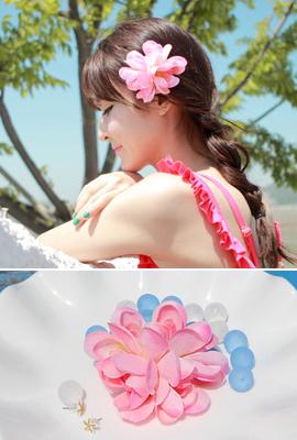 ピンクお花ヘアピン